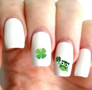 St Patricks Day Owls Shamrock Assorted Waterslide Nail Decals - Nails Creations