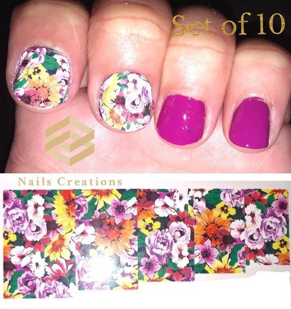 Flowers Full Nail Decals Stickers Water Slides Nail Art