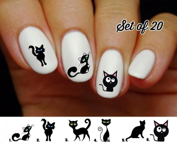 Cute Black Cat  Nail Decals Stickers Water Slides Nail Art