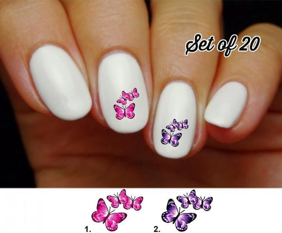 Pink and Purple Butterfly Nail Decals Stickers Water Slides Nail Art