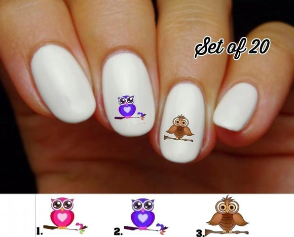 Owl on Branch Nail Decals Stickers Water Slides Nail Art - Nails Creations