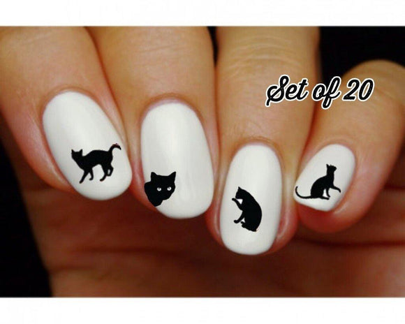 Black Kitty Cat Silhouette Assorted Nail Decals Stickers Water Slides Nail Art