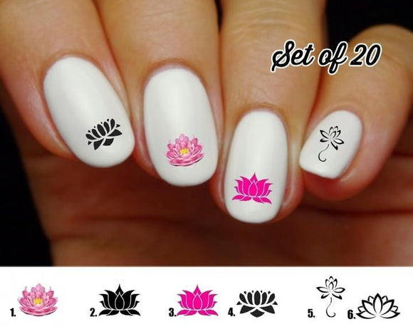 Lotus Flower Nail Decals Stickers Water Slides Nail Art