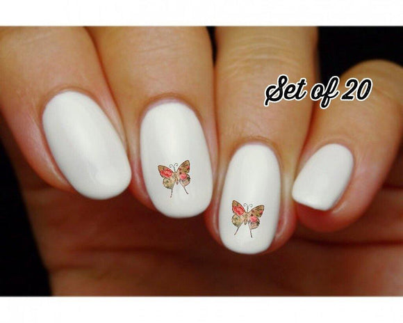 Butterfly Vintage Victorian with Pink Roses Nail Decals Stickers Water Slides Nail Art