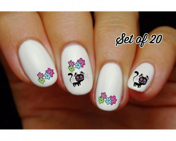 Day of the Dead Sugar Skull Kitty Cat Flowers Assorted Nail Decals Stickers Water Slides Nail Art