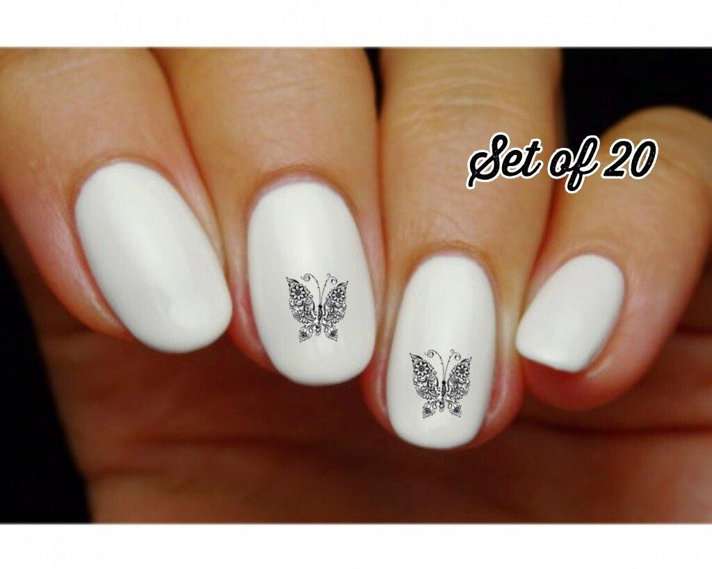 Butterfly with Flowers and Scrolls Nail Decals Stickers Water Slides Nail Art