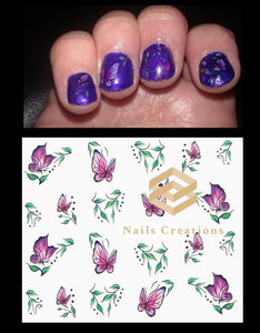 Purple Butterflies Nail Decals Stickers Water Slides Nail Art