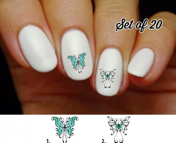 Butterfly Fancy Teal Blue Nail Decals Stickers Water Slides Nail Art - Nails Creations