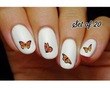 Load image into Gallery viewer, Monarch Butterfly Assorted Nail Decals Stickers Water Slides Nail Art
