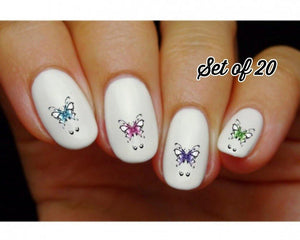 Butterflies with Scrolls Assorted Nail Decals Stickers Water Slides Nail Art - Nails Creations