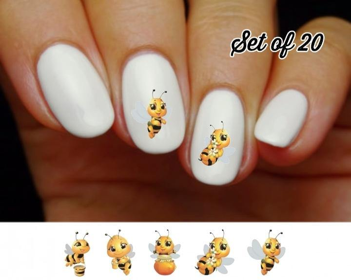 Cute Honey Bees Assorted Nail Decals Stickers Water Slides Nail Art