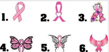 Load image into Gallery viewer, Pink Awareness Ribbon Breast Cancer Heart Hope Butterfly Nail Decals Stickers Water Slides Nail Art