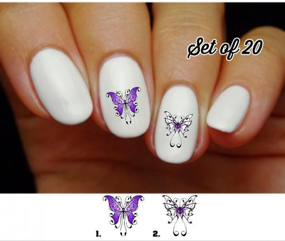 Butterfly Nail Decals Stickers Water Slides Nail Art