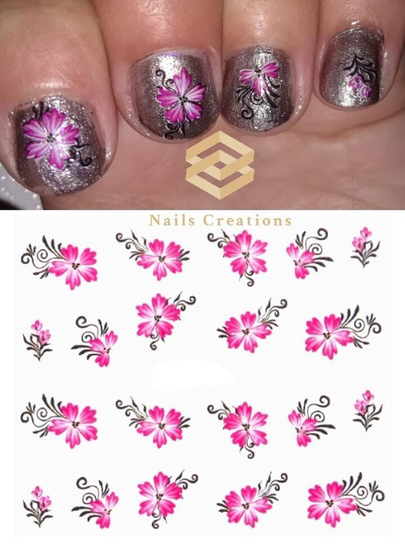 Pink Lily Nail Decals Stickers Water Slides Nail Art