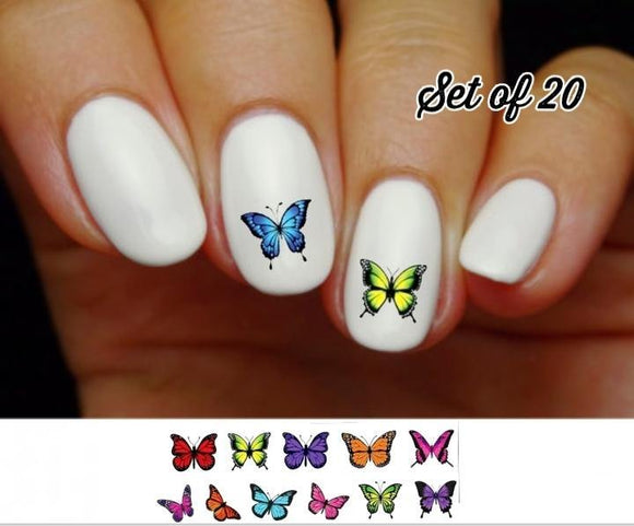 Colorful Butterflies Assorted Nail Decals Stickers Water Slides Nail Art