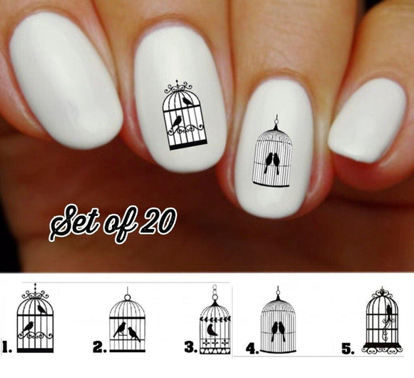 Birdcage Nail Decals Stickers Water Slides Nail Art