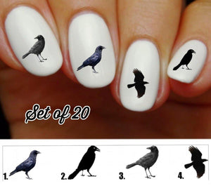 Black Crow Raven Nail Decals Stickers Water Slides Nail Art