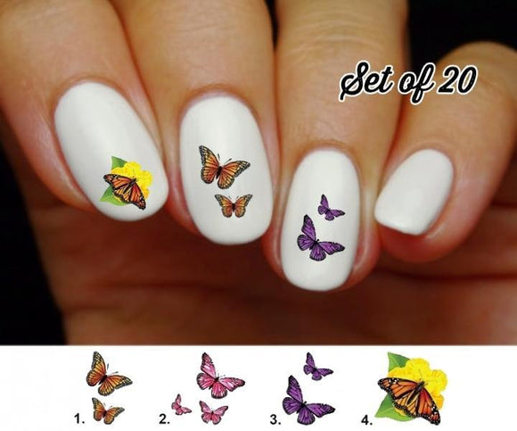 Butterflies Monarch Nail Decals Stickers Water Slides Nail Art