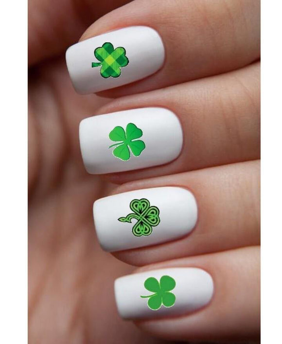 St Patricks Day Shamrocks Assorted Waterslide Nail Decals - Nails Creations