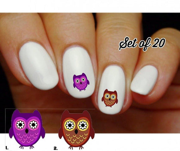Owl with Flower Eyes Nail Decals Stickers Water Slides Nail Art