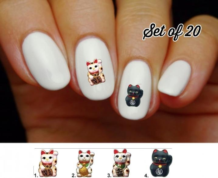 Lucky Cat Good Fortune Nail Decals Stickers Water Slides Nail Art