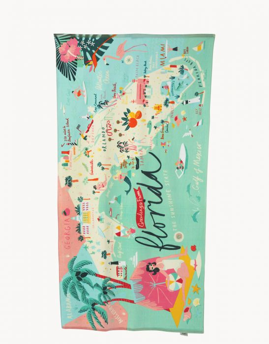 Spartina 449 Florida Map Beach Towel - Artsy Abode