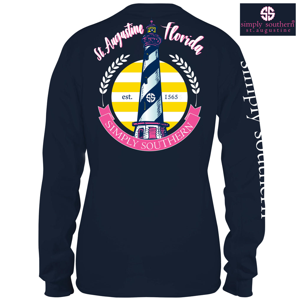 Simply Southern Exclusive Long Sleeve Tee St Augustine Lighthouse in Midnight Blue