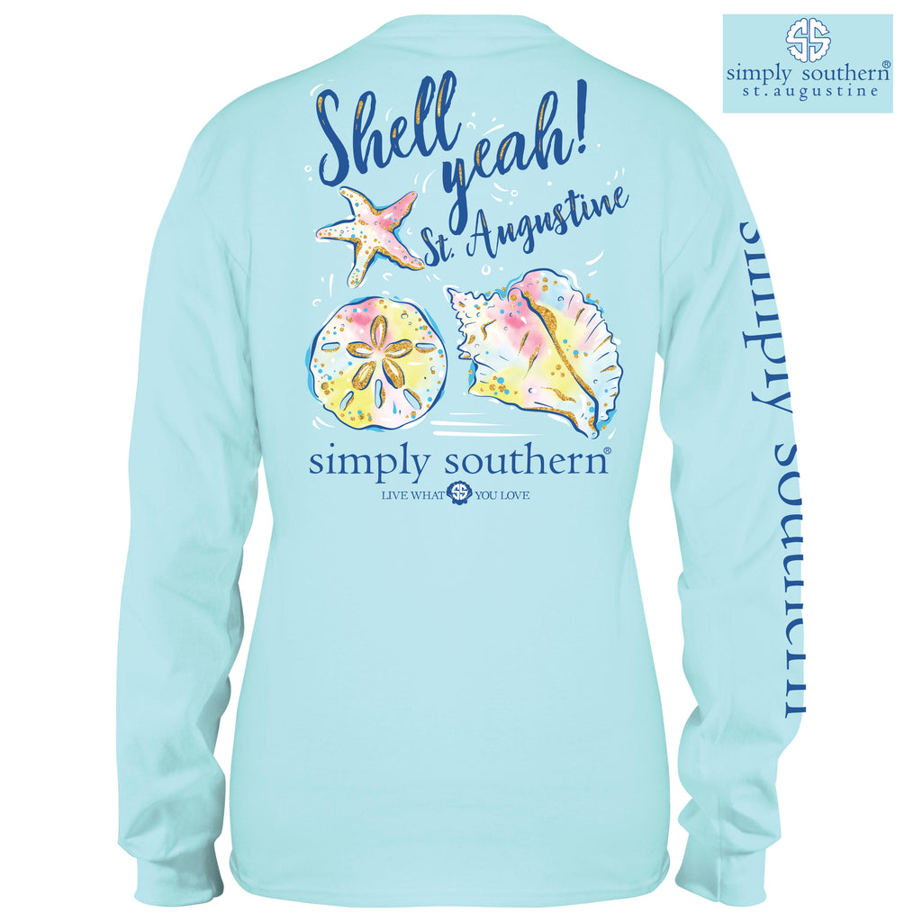 Simply Southern Exclusive Long Sleeve Tee Shell Yeah! in Marine