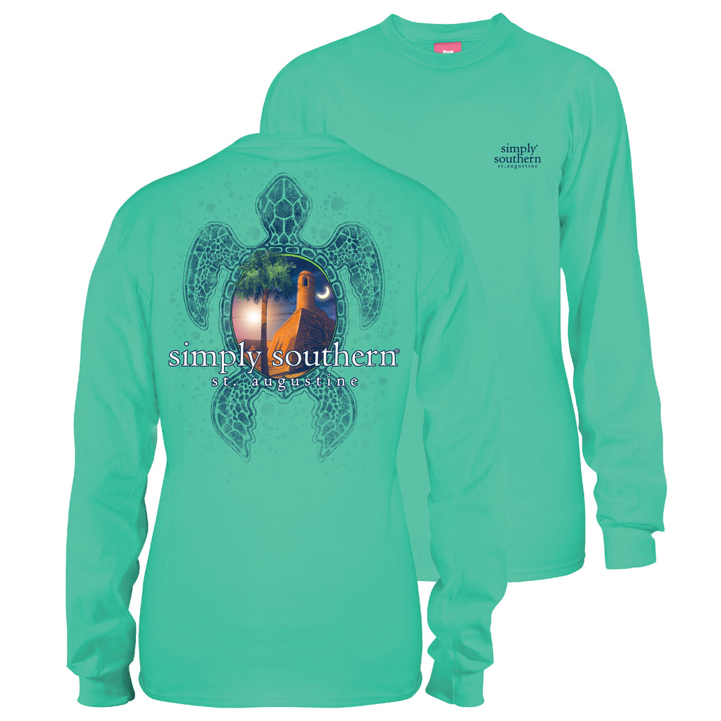 Simply Southern Exclusive Long Sleeve Tee St Augustine Fort in Aruba Blue