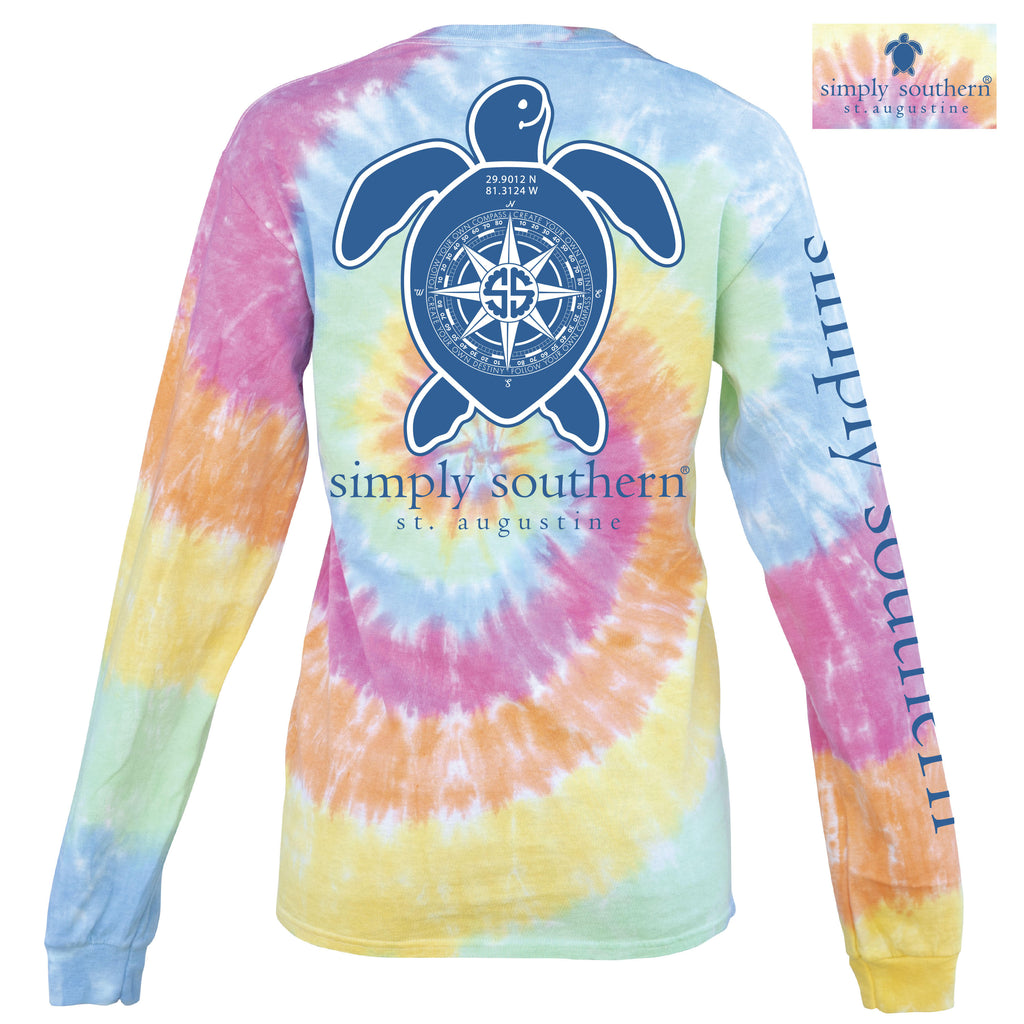 Simply Southern Exclusive Long Sleeve Tee St Augustine Turtle in Tiedye