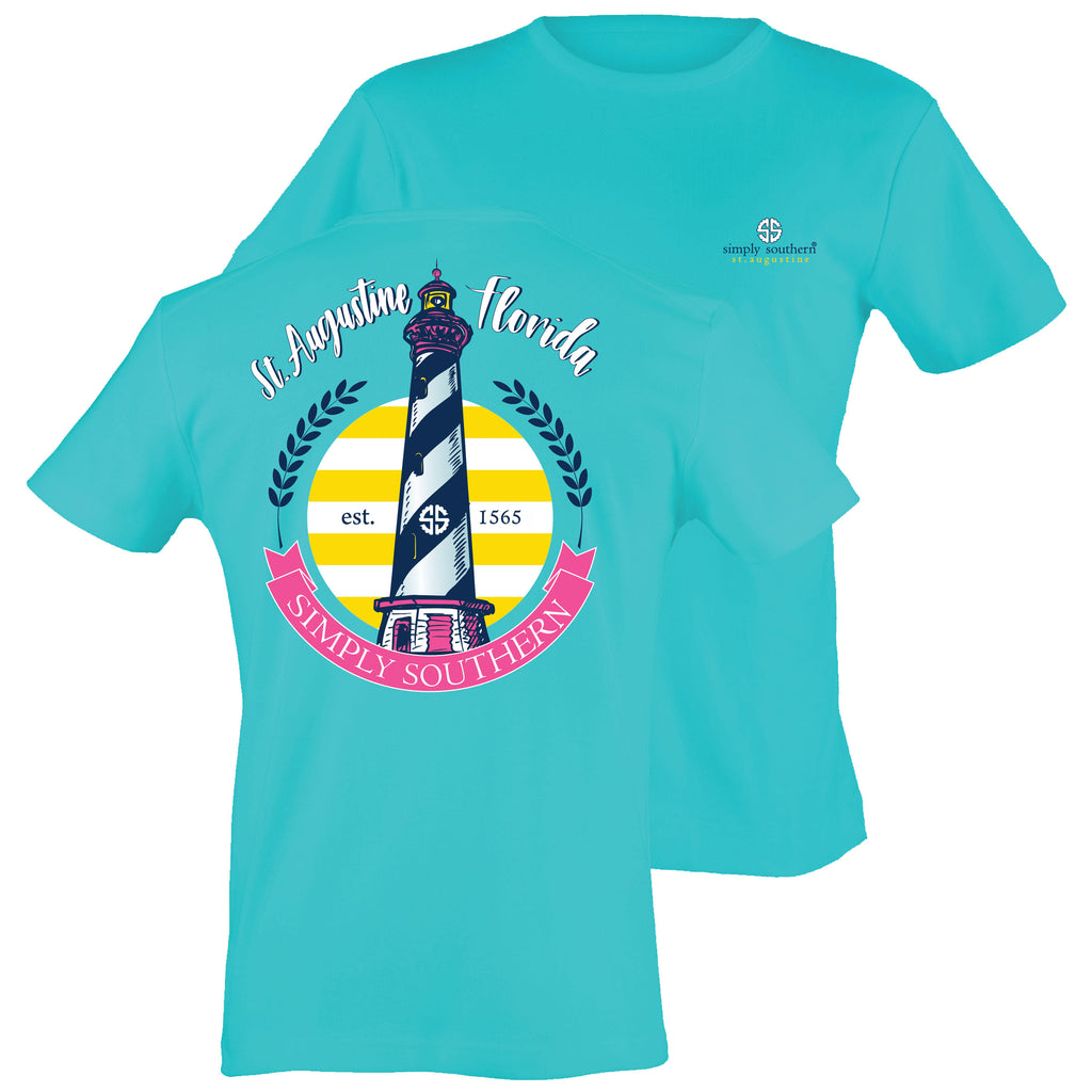 Simply Southern Exclusive Short Sleeve Short Tee St Augustine Lighhouse in Blue