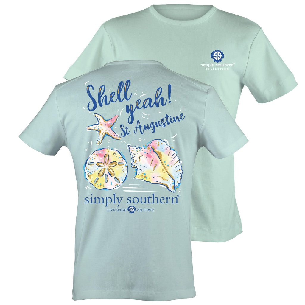 Simply Southern Exclusive Short Sleeve Tee St Augustine Shell Yeah - Celedon