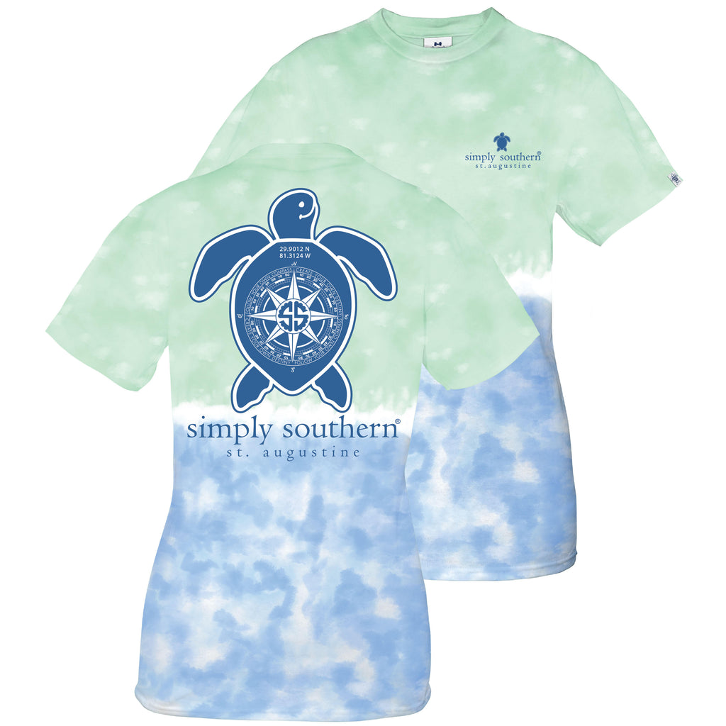 Simply Southern Exclusive Short Sleeve Short Tee St Augustine Compass in Island