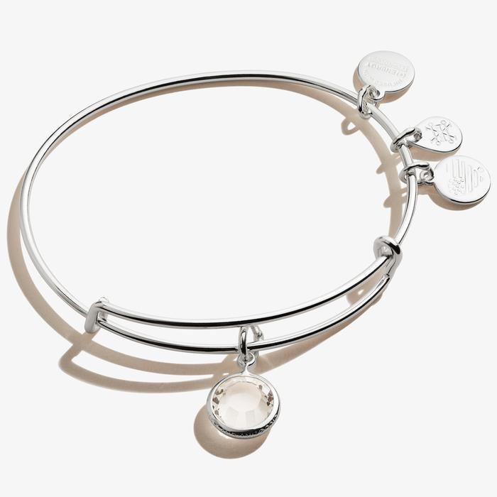 Alex and Ani - Clear Crystal Birthstone Charm Bangle April