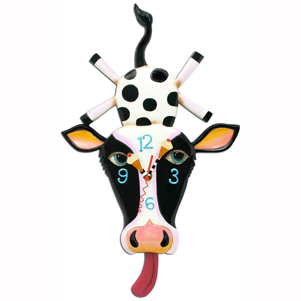 Allen Designs - Cow Cream Clock - Artsy Abode