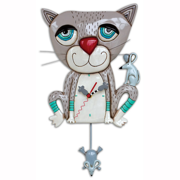 Allen Designs - Mouser Grey Cat Clock - Artsy Abode