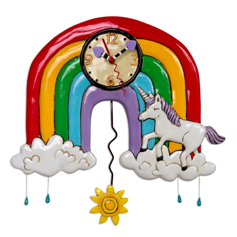 Allen Designs - Rainbows & Unicorns Clock - Artsy Abode