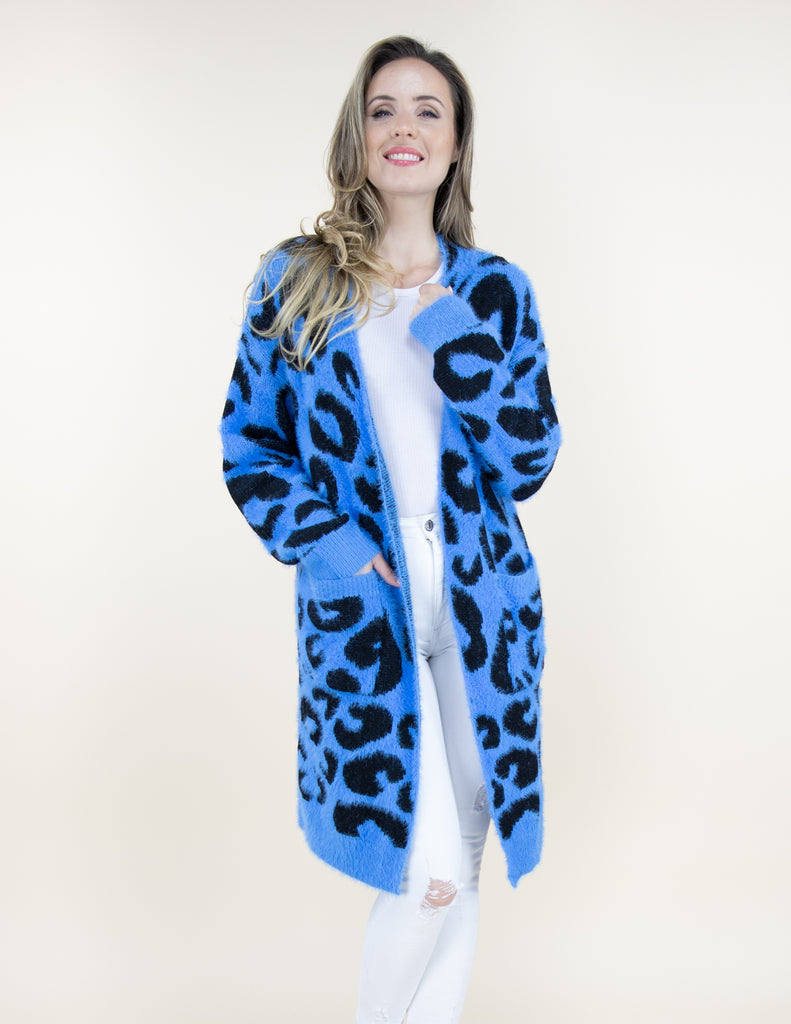 Long Sleeve Cardigan Blue Leopard - Artsy Abode