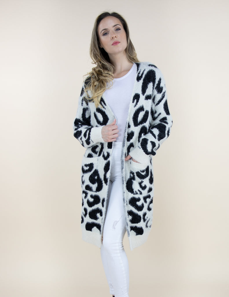 Long Sleeve Cardigan - White Leopard - Artsy Abode