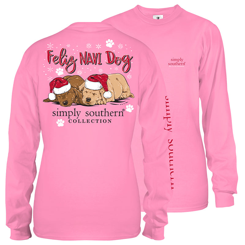 Simply Southern Youth Long Sleeve Shirt - Feliz Navi Dog in Pink