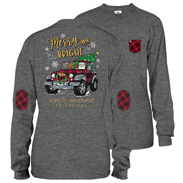 Simply Southern Long Sleeve Tee Merry and Bright - Dark Gray - Artsy Abode