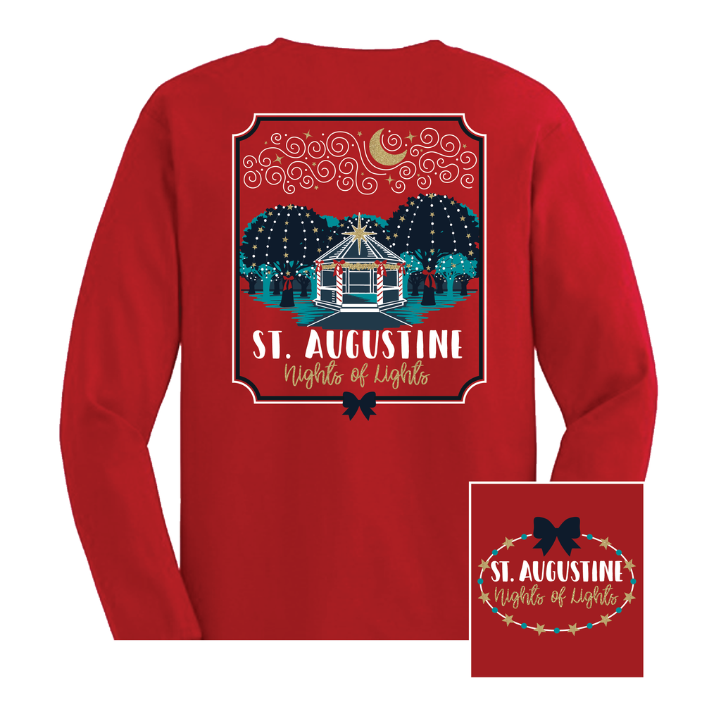 St Augustine Nights Of Lights Long Sleeve Tee Shirt - Red - Artsy Abode