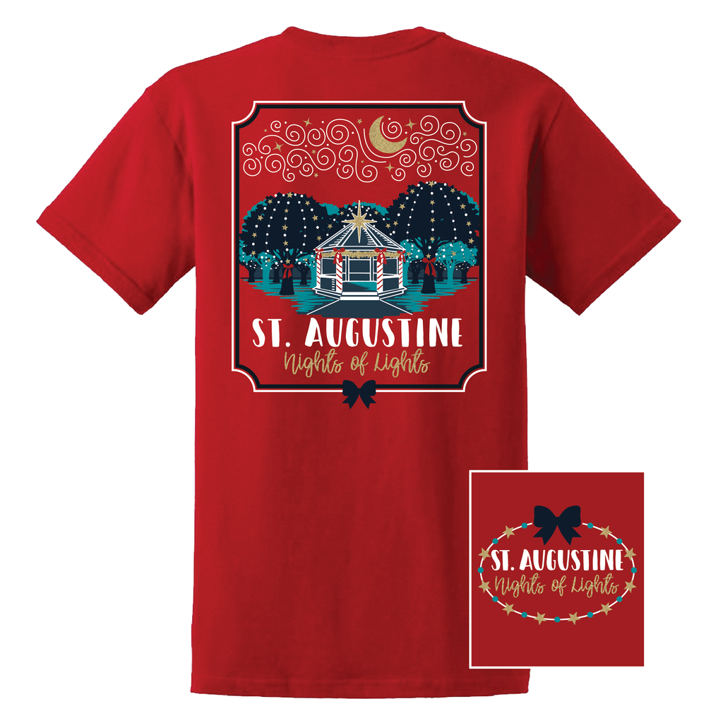 St Augustine Nights Of Lights Short Sleeve Tee Shirt - Red - Artsy Abode
