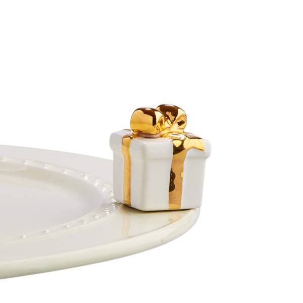 Nora Fleming Golden Wishes - White Gift Mini - Artsy Abode