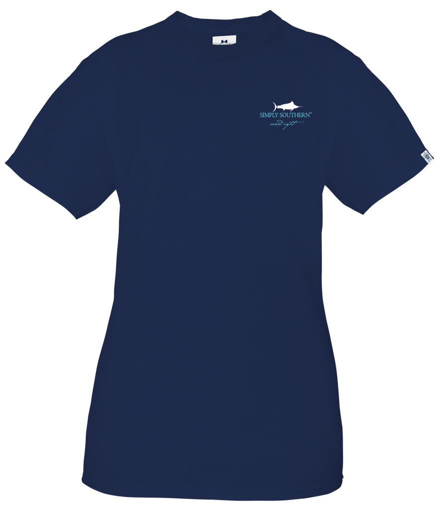 Simply Southern Short Sleeve Tee Shirt Fishkey in Midnight Blue