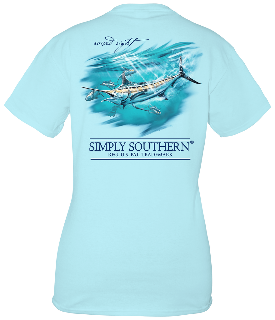 Youth Simply Southern Short Sleeve Tee Shirt Marlin in Ice