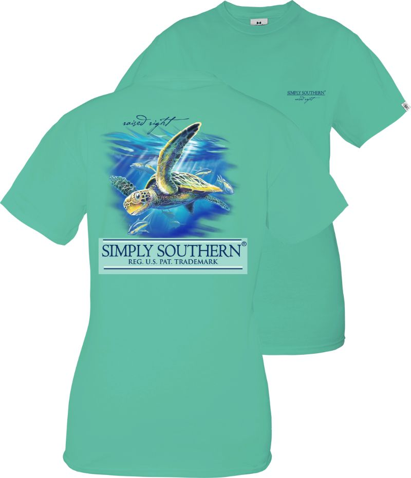 Youth Simply Southern Short Sleeve Tee Shirt Turtle in Sea Green