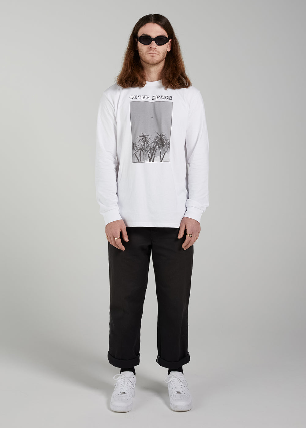 100% Cotton, screen printed mens t-shirt by Lucie Marquis. Photo Auckland, New Zealand.
