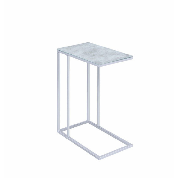 MARBLED GLASS ACCENT TABLE