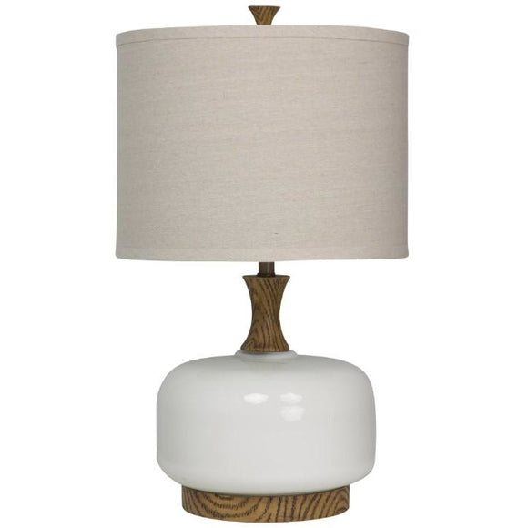 WOOD AND CERAMIC TABLE LAMP